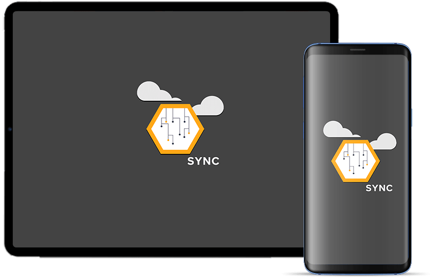 ipad and android phone with sync logo