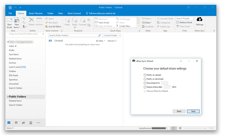 Install the vBoxxCloud Outlook plugin, and share large attachments