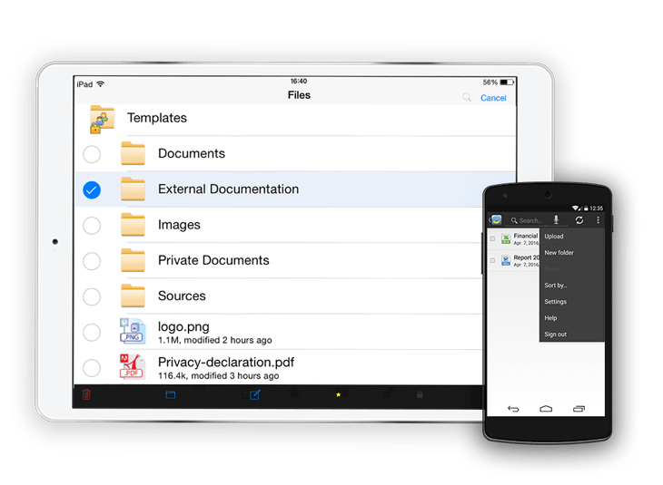Mobile devices can access and edit files directly. Use the app together with other applications tos edit and save your documents.